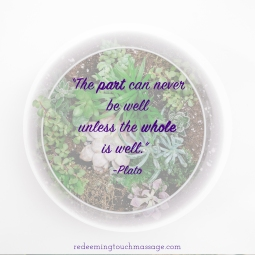 The part can never be well unless the whole is well. Plato